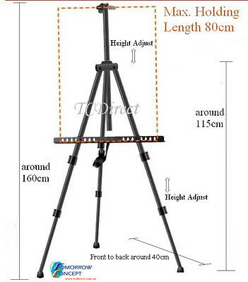 Adjustable Black Metal Tripod Easel Sketch Painting Display Stand for Exhibition