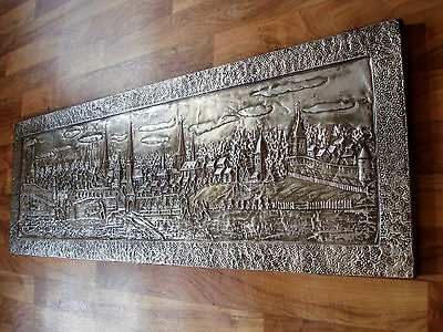 Riesiges Metallbild Relief Wandbild Bild Metall Metallrelief gross 150x50cm