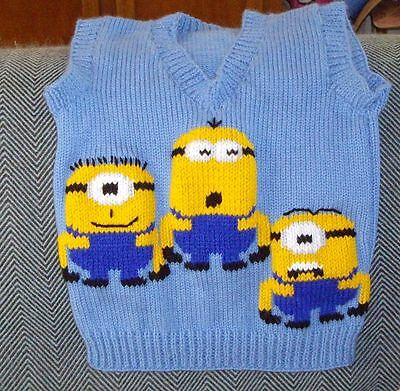 Minions  Vest  ..new Size4  Handknitted Despicable Me