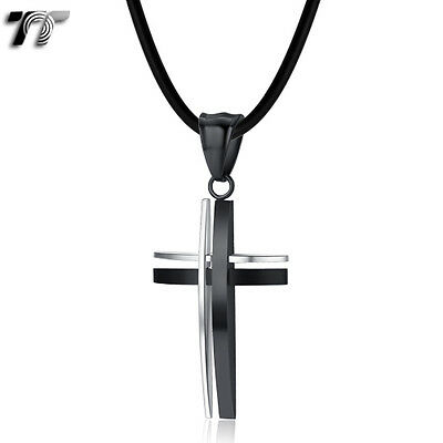 TT Silver/Black Stripe Stainless Steel Cross Pendant Necklace (NP295D) NEW
