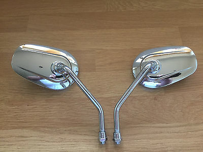 Motorcycle Scooter Pair of Chrome Teardrop  Mirrors 10mm Thread Silver NEW
