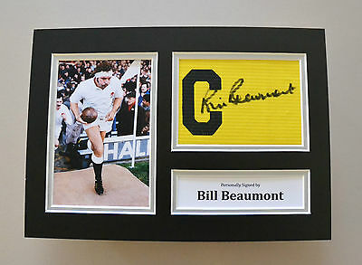 Bill Beaumont Signed A4 Photo Captain's Armband England Rugby Autograph Display