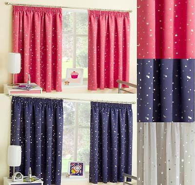 MOON and & STARS MOONLIGHT TAPE TOP THERMAL SEMI BLOCKOUT CURTAINS CHILDREN KIDS