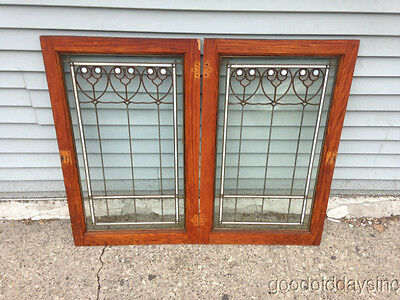 Pair of Antique Oak Cabinet Doors / Windows Stained Glass Window