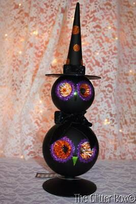 Halloween Decorations Table Top Black Glass Double Owl Finial Orange Purple