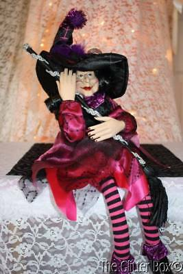 Halloween Witch Shelf Sitter RAZ Halloween Decorations Black & Purple 20""