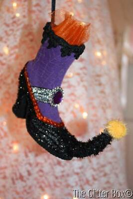 RAZ Halloween Witch Boot Ornament Purple Black Spider Web Halloween Decorations