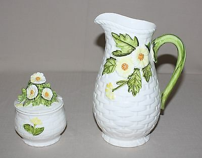 Lefton Daisytime Pitcher and Jam or Jelly Jar Made in Japan 4125 3858 Embossed