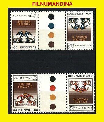 SURINAME 1992 UPAEP  INVERTED GUTTER PAIR TRAFFIC LIGHTS Yv1268-9