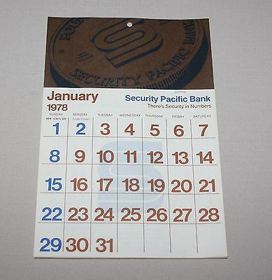 1978 Security Pacific National Bank Wall Calendar SPNB Unused