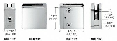 """Chrome Z-Series Square Type Flat Base Zinc Clamp for 1/2"""" Glass"""