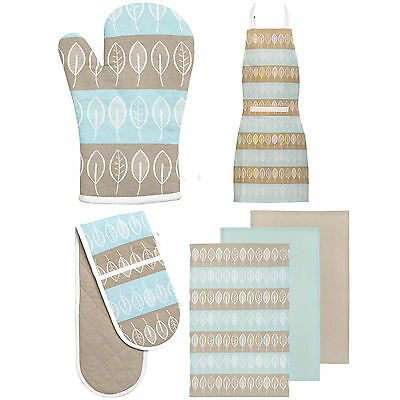 Beech Pattern 100% Cotton Kitchen Chefs Apron Double Oven Glove Mitt Tea Towels
