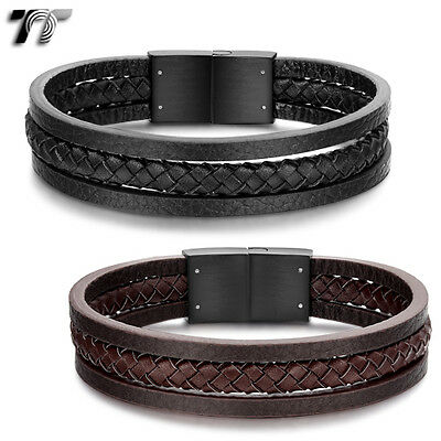 Stylish TT Genuine Leather With Black 316L S.Steel Clip Bracelet (BR163) NEW