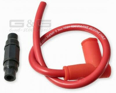 Ignition leads incl. Plug connector Racing Red APRILIA GILERA PEUGEOT PIAGGIO