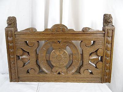 """14"" Antique French Oak Wood Carved Pediment Panel Ornament - Lions"
