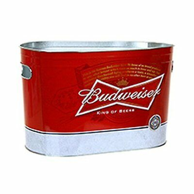 Budweiser Beer Oblong Light Weight Ice Gift Bucket Metal Painted Tub - Red