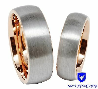 Men & Women's Tungsten Carbide Wedding Band Rose Gold Brushed Center Ring Set