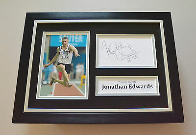 Jonathan Edwards Signed A4 Photo Framed Olympics Autograph Display Memorabilia