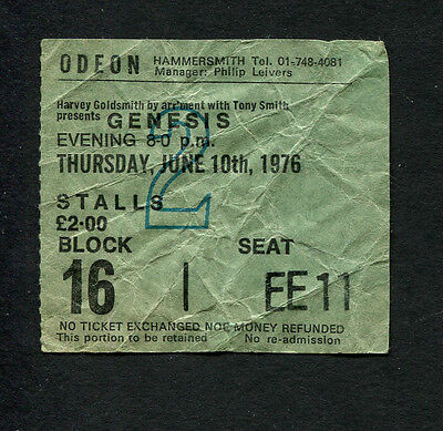 Genesis 1976 concert ticket stub London King Biscuit  A Trick Of The Tail Tour
