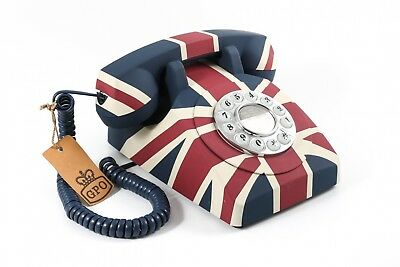 GPO Push Button Classic Retro British Design Telephone - Union Jack Home Phone