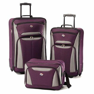 American Tourister Luggage Fieldbrook II 3 Piece Set, Purple/Grey New