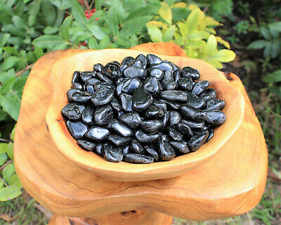 "Tumbled Set of 6 Black Tourmaline Grounding Crystals Stones  (1/2"")"