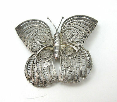 Vintage  Silver Tone Filigree Butterfly Pin Brooch Mexico **