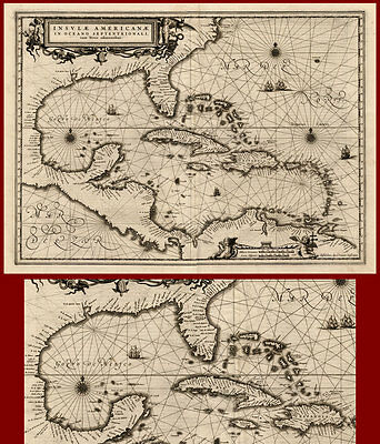 Antique Map-CARRIBEAN-MEXICO-AMERICA-Janssonius-1636
