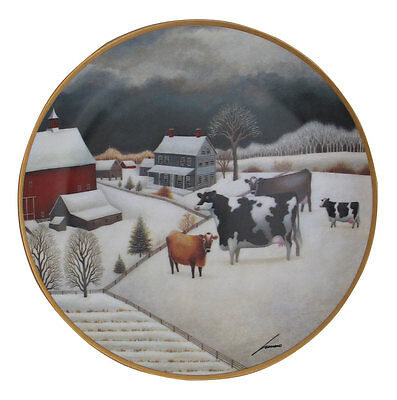 Cows in Winter American Folk Art Lowell Herrero Franklin Mint Country Cow Plate