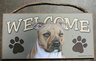 PIT BULL TERRIER Brown Dog 5 x 10 Wood WELCOME SIGN Plaque USA Made