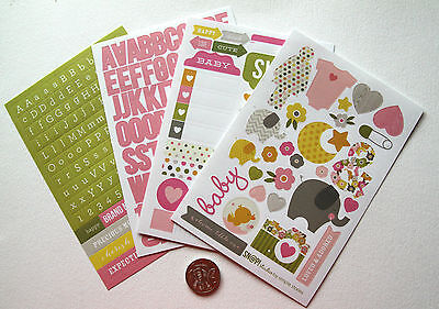 Scrapbooking No 244 - 250 Plus Die Cut Baby Girl Themed  Stickers & Alphabet