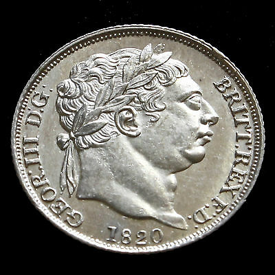 1820 George III Milled Silver Sixpence - Scarce - Uncirculated