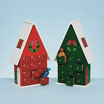 *26cm Wooden Green Red Advent House Festive Calendar Christmas Xmas Decoration*