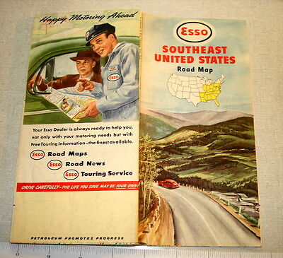 1948 ESSO Road Map SOUTHEAST UNITED STATES NR