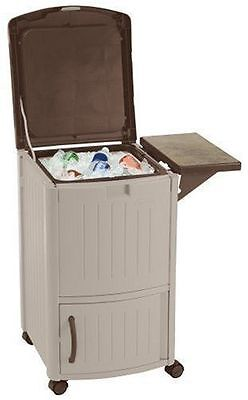Rolling Outdoor Ice Beverage Cooler Beige Brown with Storage Stand