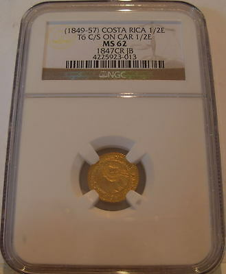 Costa Rica 1849-57 Gold 1/2 Escudo NGC MS-62 Countenmark on CAR 1847 1/2 Escudo
