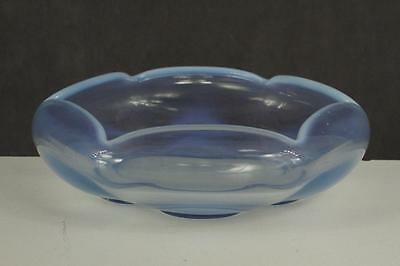 "Vintage Blue Glass Opalescent Trim Bowl Scallop Edge 6.25"" Wide Petal Base"