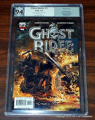 Ghost Rider 1 Marvel Comic SIGNED Clayton Crain PGX 9.4 2005