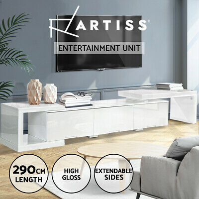 Artiss High Gloss TV Stand Unit Adjustable Lowline Drawers LED LCD Cabinet White