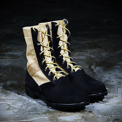 d49973aa212 ByTheR Unique Casual Urban Chic Street Jungle Millitary Leather Combat Boots