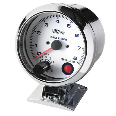Sumex 90mm 12V Car Chromed RPM Tachometer Gauge Race Sport Dial - Shift Light