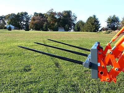 "Skid Steer TRIPLE Bale Spear Attachment 3 x 49"" Prong CAT-M Hay Bale Handler"