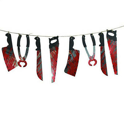 Hanging Garland Pennant Spooky Halloween Party Haunted House Banner Decoration