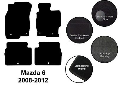 Mazda 6 (2007 to 2012) New Fully Tailored Quality Black Carpet Car Floor Mats