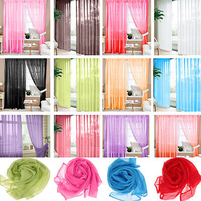 Door Window Curtain Drape Panel Scarf Assorted Room Home Tulle Scarf Sheer Voile