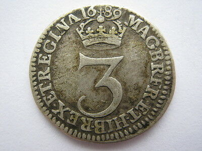 1689 Maundy Threepence, VF. ESC 1987A. ACS