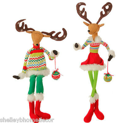"RAZ Posable Sitting Deer 31.5""  tall Merry and Bright set of 2 mb 3529130 NEW"