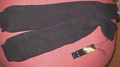"NWT Bloch LEGWARMERS GIRLS  Black CW6540B knit plait 20"" squiggle pattern"