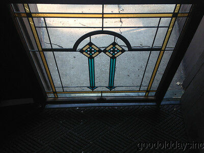 Antique 1920's Chicago Bungalow Style Stained Leaded Glass Window