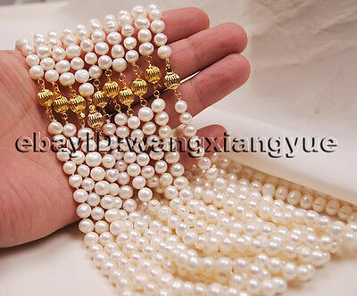 Wholesale 10Strands 7-8MM Natural White Akoya Cultured Pearl 14K GP Necklace 18""